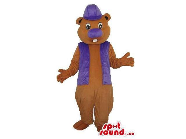Brown Chipmunk Plush Canadian SpotSound Mascot With Purple Clothes