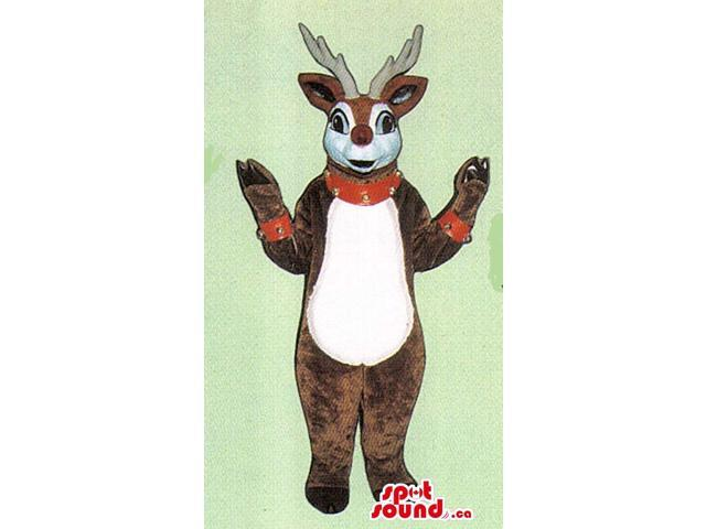 Brown Reindeer Animal Plush Canadian SpotSound Mascot With Studded Collar