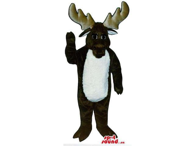 Customised Brown Moose Animal Canadian SpotSound Mascot With A White Belly