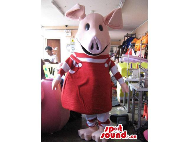 Pink Piglet Animal Canadian SpotSound Mascot With Red Dress And Striped T-Shirt