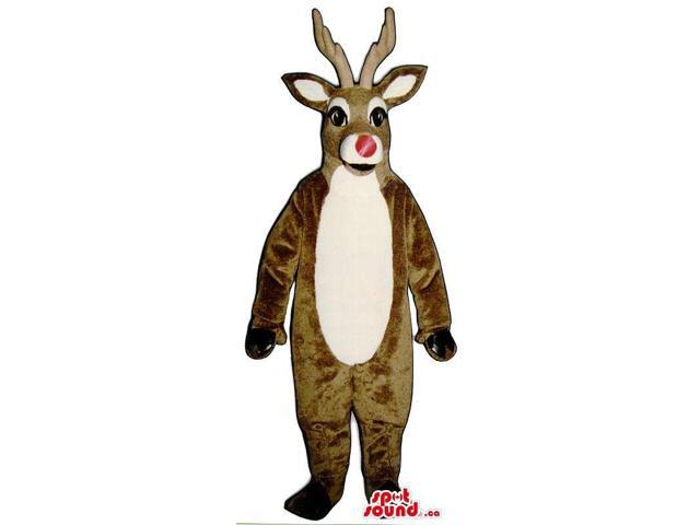 Christmas Brown Reindeer Animal Plush Canadian SpotSound Mascot With Red Nose