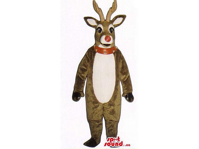 Christmas Brown Reindeer Animal Plush Canadian SpotSound Mascot With Studded Collar