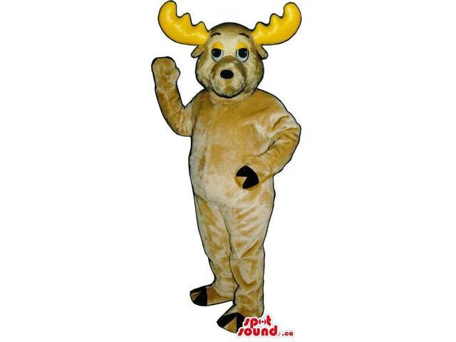 Beige Moose Plush Animal Canadian SpotSound Mascot With Yellow Large Horns