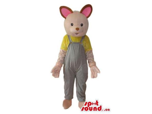 Cute Pink Mouse Plush Canadian SpotSound Mascot Dressed In Grey Overalls