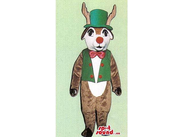Brown Reindeer Plush Canadian SpotSound Mascot Dressed In A Green Hat And Vest