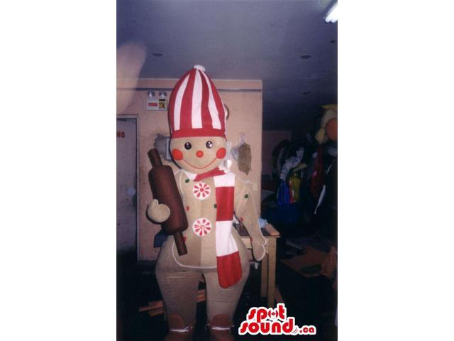 Ginger-Bread Man Canadian SpotSound Mascot With Red And White Chef Clothes
