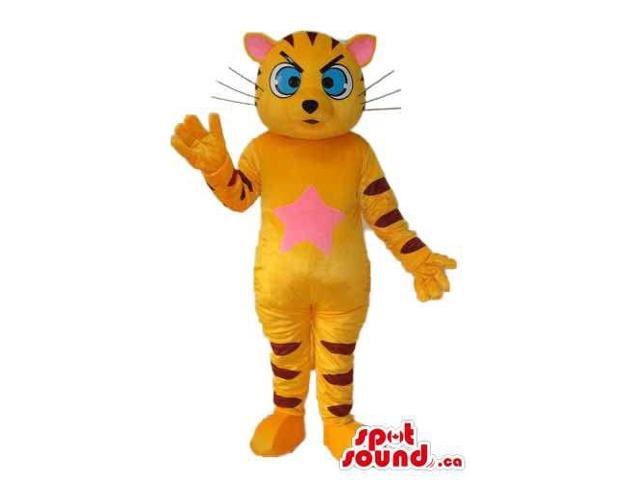 Fairy-Tale Orange Tiger Plush Canadian SpotSound Mascot With A Pink Belly