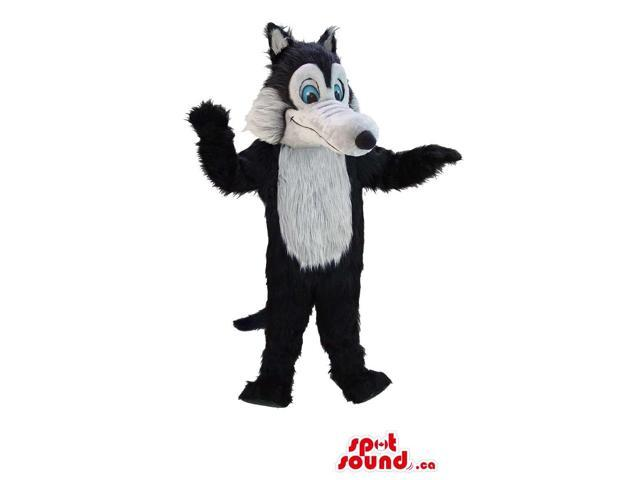 Black And Grey Wolf Animal Canadian SpotSound Mascot With Blue Eyes And Long Tail