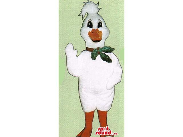 White Duck Plush Canadian SpotSound Mascot With A Christmas Ornament