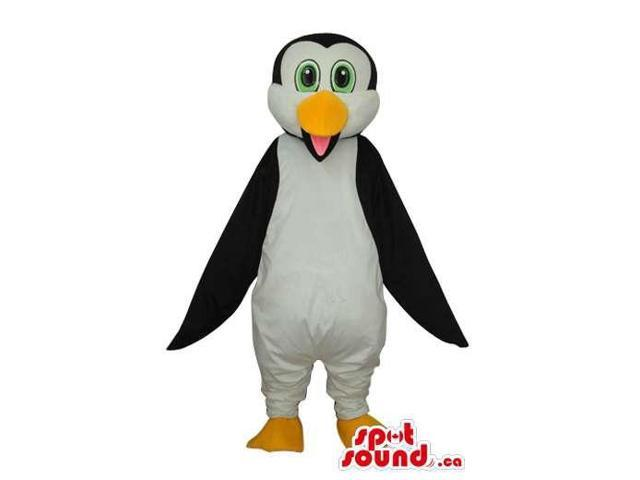 Cute Young Penguin Animal Plush Canadian SpotSound Mascot With Green Eyes