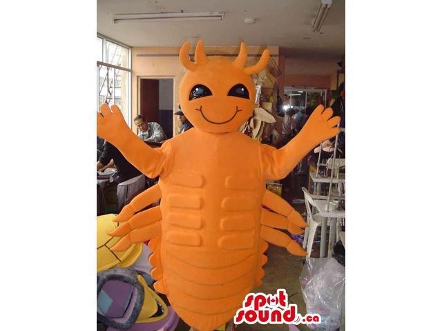 Orange Shrimp Seafood Canadian SpotSound Mascot With Black Eyes And Many Legs