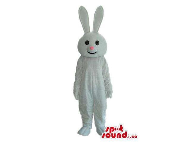 Cute Customised All White Bunny Canadian SpotSound Mascot With Pink Nose