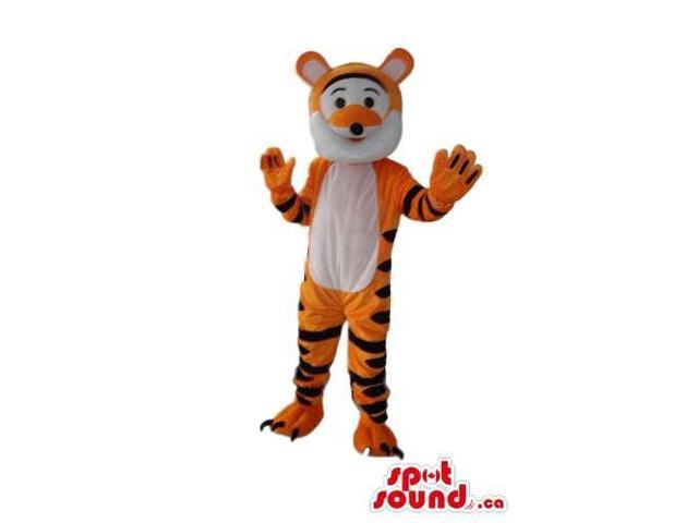 Fairy-Tale Orange Tiger Plush Canadian SpotSound Mascot With A White Belly And Face
