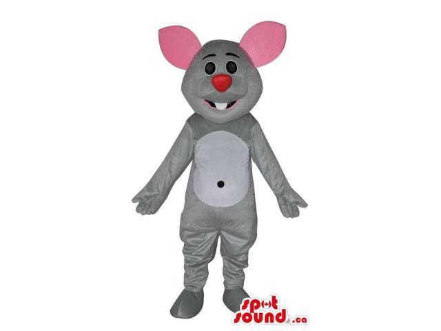 Cute Grey Mouse Canadian SpotSound Mascot With Pink Ears And Red Nose