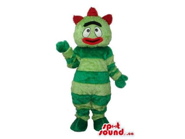 Peculiar Green Stripes Bug Plush Canadian SpotSound Mascot With Red Lips