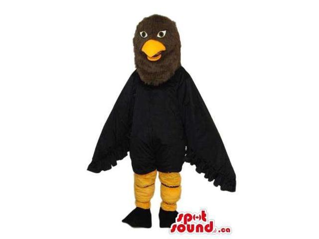 Black And Brown Bird Plush Canadian SpotSound Mascot With A Yellow Beak