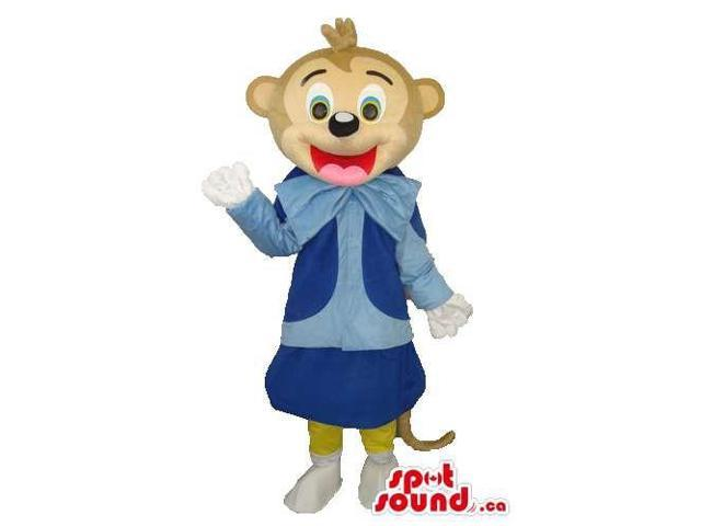 Cute Brown Monkey Plush Canadian SpotSound Mascot With Blue Clothes