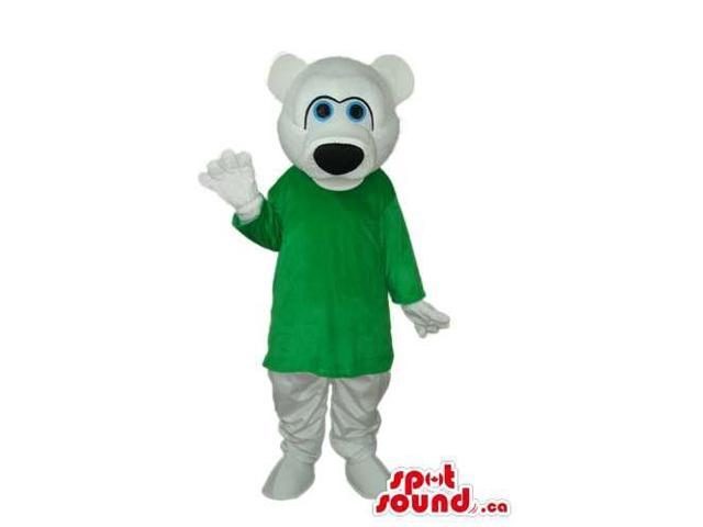 White Bear Plush Canadian SpotSound Mascot Dressed In A Green Long Shirt