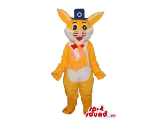 White And Orange Rabbit Plush Canadian SpotSound Mascot Dressed In Circus Clothes