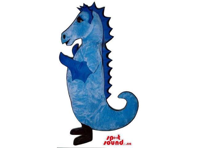 Customised All Blue Plush Seahorse Canadian SpotSound Mascot With Curled Tail