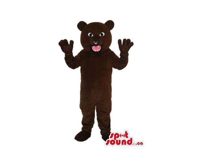 Customised Angry Furious Dark Brown Bear Plush Canadian SpotSound Mascot