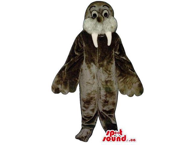 Customised Grey Seal Animal Plush Canadian SpotSound Mascot With Long Fangs