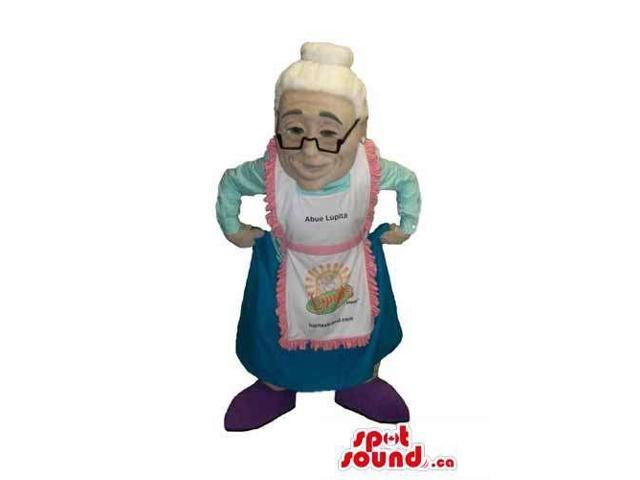 Grandmother Human Canadian SpotSound Mascot With Glasses Dressed In An Apron