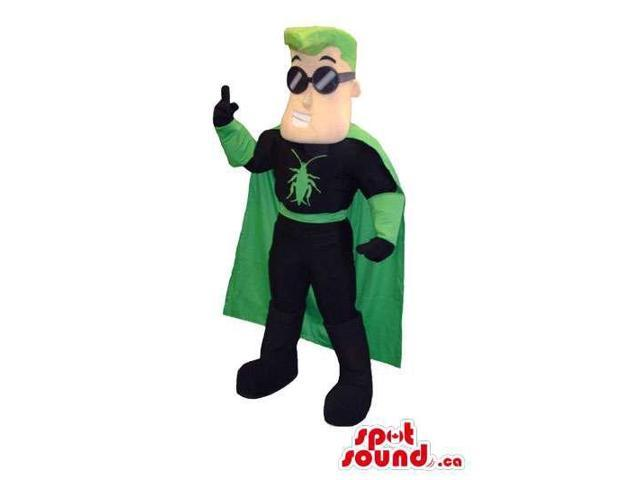 Super Hero Character Canadian SpotSound Mascot With Green Hair And Glasses