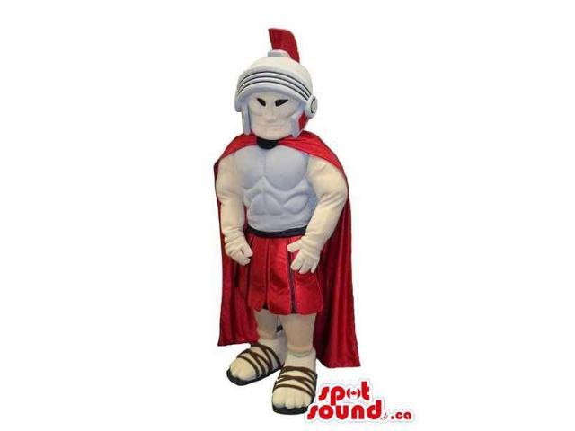 Roman Character Canadian SpotSound Mascot Dressed In A Red Cape And A Helmet