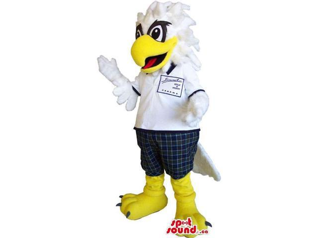White Eagle Bird Canadian SpotSound Mascot Dressed In A Polo Shirt And Pants