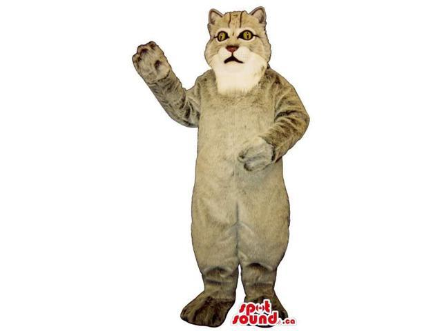All Grey Cat Plush Canadian SpotSound Mascot With A White Face And Yellow Eyes