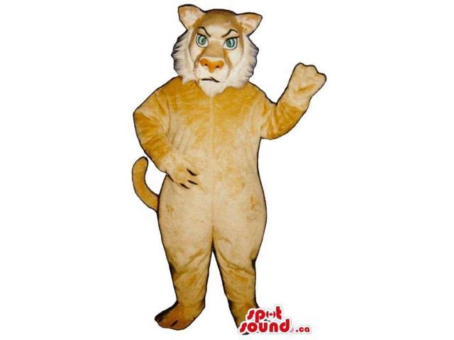 Angry Beige Lion Animal Plush Canadian SpotSound Mascot With Blue Eyes