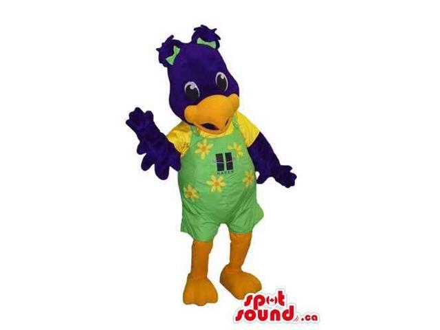 Blue Bird Canadian SpotSound Mascot Dressed In Green Overalls With Flowers And Logo