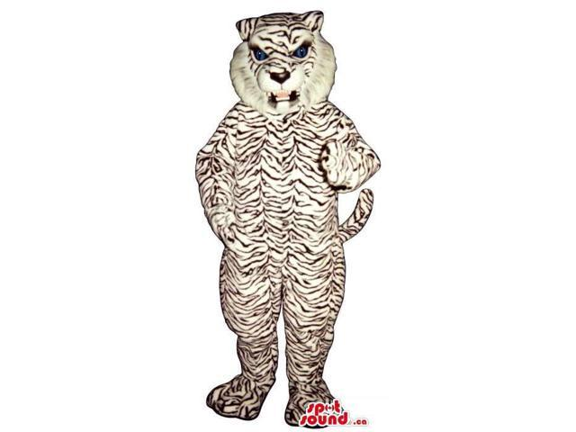 White Tiger Canadian SpotSound Mascot With Thin Black Stripes And An Angry Face