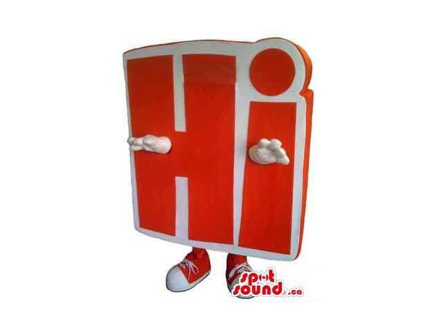 Customised Hi Message Canadian SpotSound Mascot In Red And White