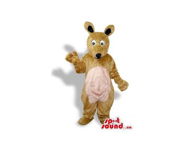 All Brown Kangaroo Plush Canadian SpotSound Mascot With A Beige Pocket