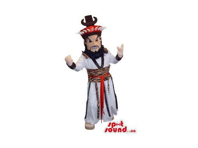 Asian Inspired Human Canadian SpotSound Mascot With Beard And Special Clothes