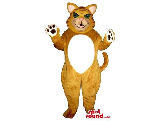 Angry Brown Cat Plush Canadian SpotSound Mascot With A White Belly And Green Eyes