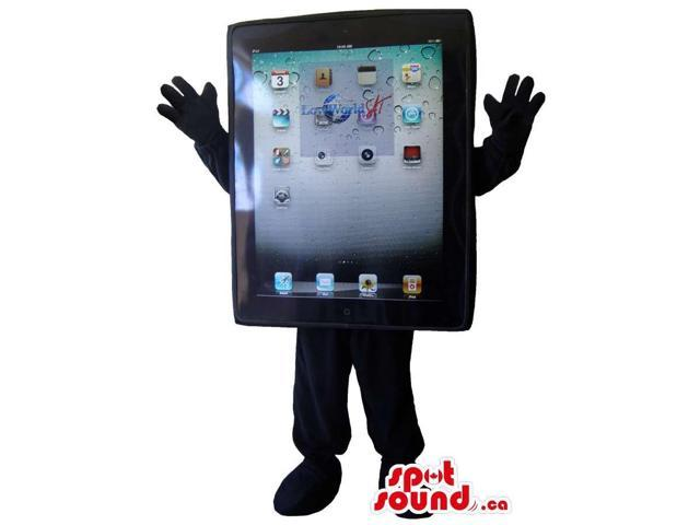 Excellent Large Black Ipad Canadian SpotSound Mascot With All Icons And No Face
