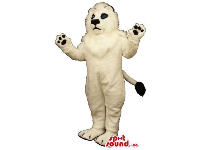 All White Persian Cat Animal Plush Canadian SpotSound Mascot With Blue Eyes