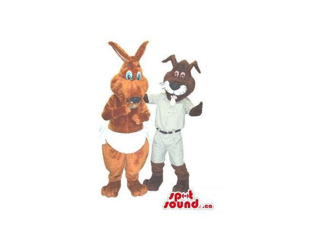 A Kangaroo Dressed In Nappies And A Cat Canadian SpotSound Mascot With A Tongue