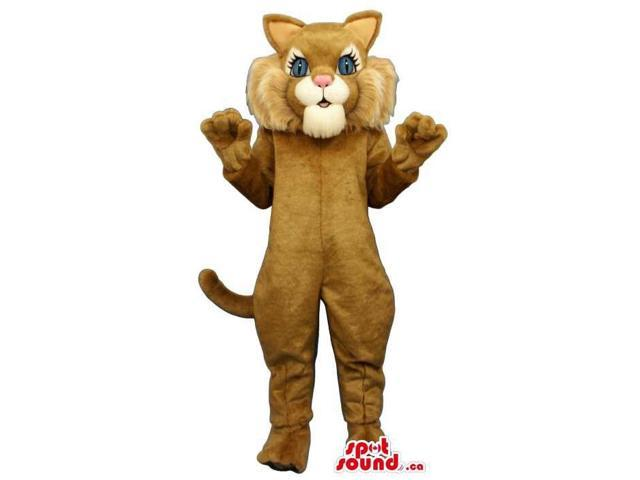 Cute Brown Cat Canadian SpotSound Mascot With A White Face And Blue Eyes