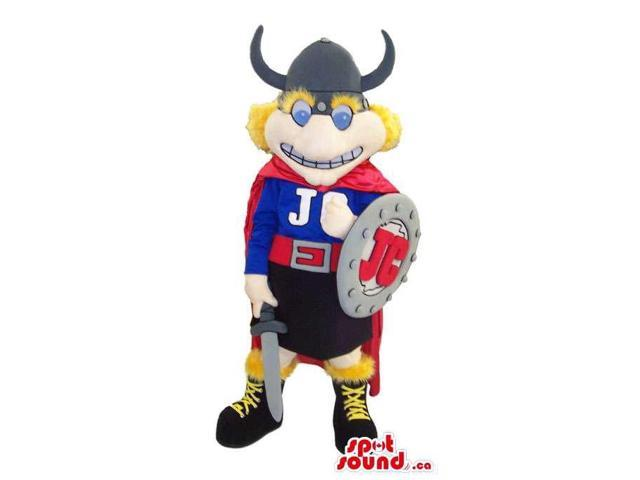 Viking Canadian SpotSound Mascot Dressed In A Cape, Shield And Helmet With Horns