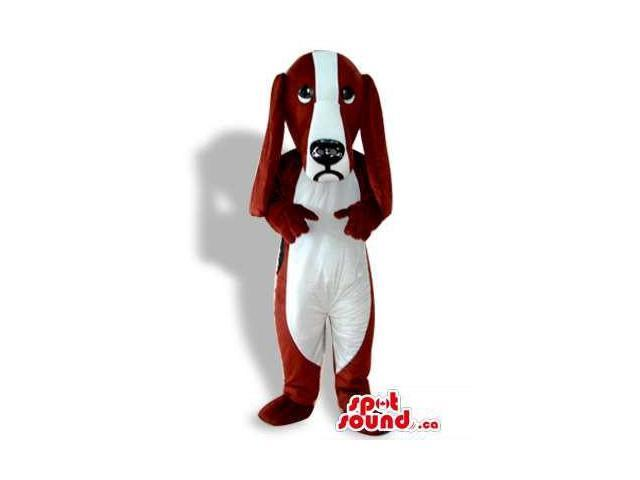 Dog Canadian SpotSound Mascot In White And Red With A Mad And Frustrated Face