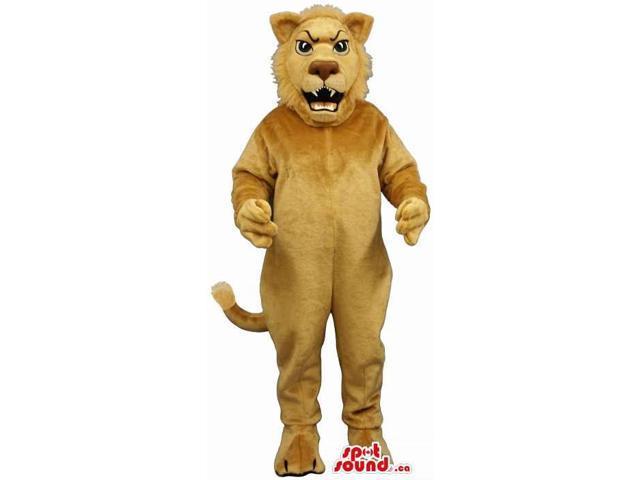 Furious Roaring All Beige Lion Animal Plush Canadian SpotSound Mascot