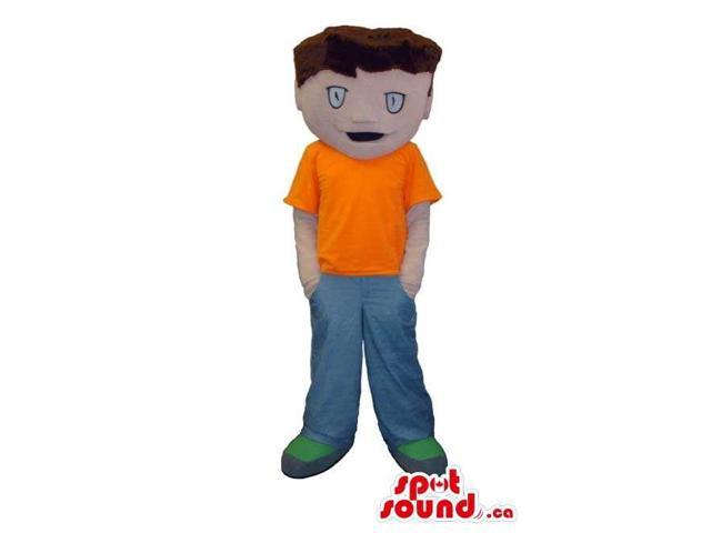Boy Canadian SpotSound Mascot With Brown Hair Dressed In An Orange T-Shirt And Pants