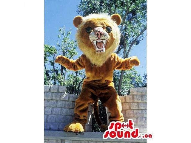 Furious Light Brown And Beige Lion Animal Canadian SpotSound Mascot