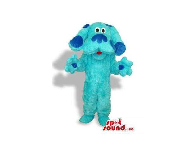 All Blue Dog Plush Animal Canadian SpotSound Mascot With Darker Blue Spots