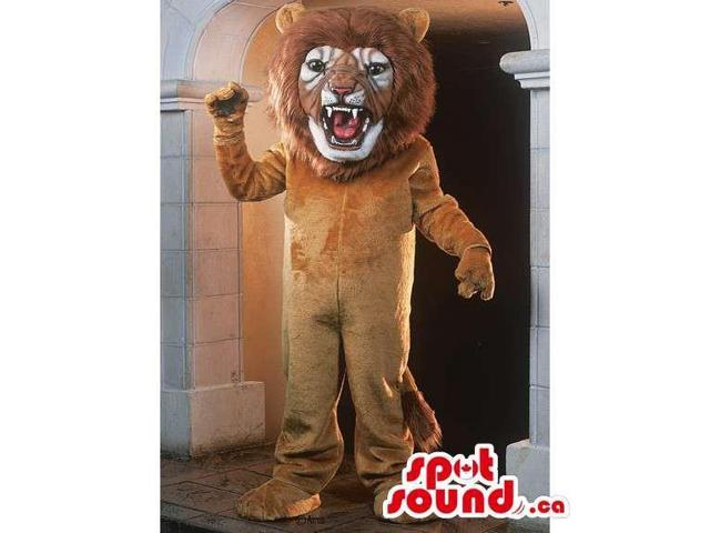 All Light Brown Lion Animal Canadian SpotSound Mascot Showing Fangs