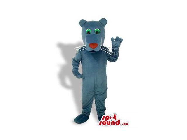 Cute Grey Panther Animal Plush Canadian SpotSound Mascot With A Red Nose